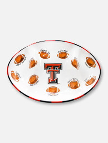 Magnolia Lane Texas Tech Red Raiders Double T with Football Pattern Ceramic Platter