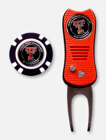 Team Gold SwitchFix Texas Tech Red Raiders Double T Black Divot Tool with Chip in Tin Set