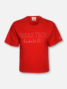 League Texas Tech Red Raiders Baseball Script Crop Top T-Shirt
