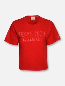 League Texas Tech Red Raiders Baseball Script Crop Top T-Shirt