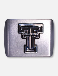 AMG Texas Tech  Red Raiders Metallic Silver with Chrome  Double T Hitch Cover