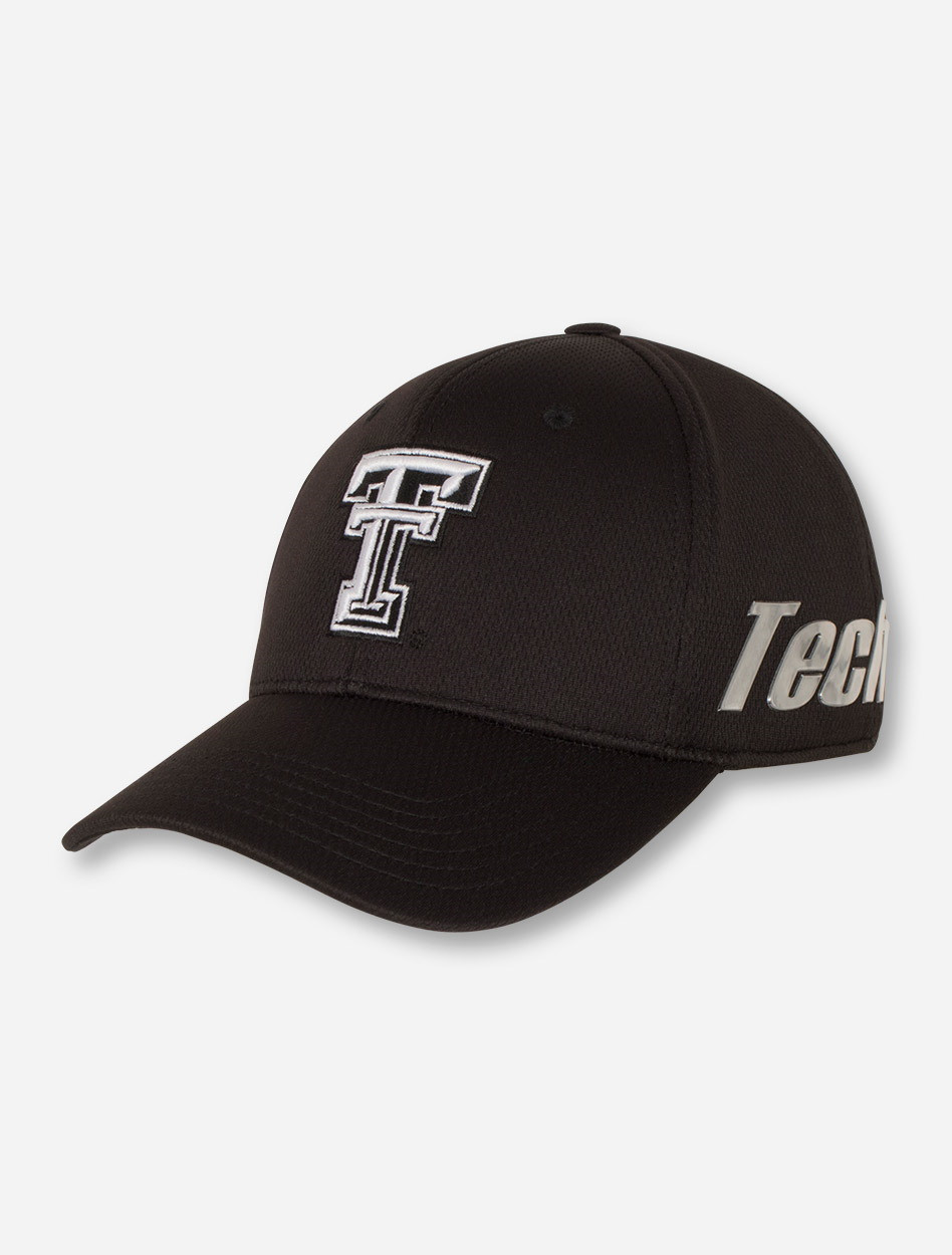 18e0c43535100 Top of the World Texas Tech Red Raiders Double T on Black Stretch ...