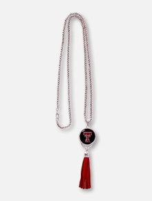 FTH Texas Tech Red Raiders Texas Tech Double T Pendant with Long Red Suede Tassle Necklace