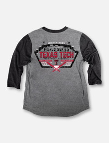 "Texas Tech Baseball ""Turn Two"" 2018 CWS Grey Long Sleeve Raglan T-shirt"