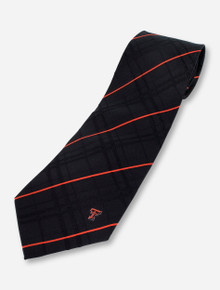 Texas Tech Small Double T on Striped Black Tie