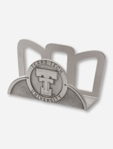 Texas Tech Heritage Pewter Double T Emblem on Silver Business Card Holder