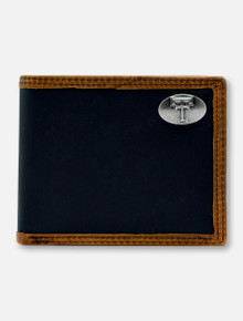 Texas Tech Red Raiders Double T Black and Brown Two-Tone Leather Bi-fold Wallet