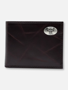 Texas Tech Red Raiders Brown Wrinkle Leather Bi-Fold Wallet with Double T