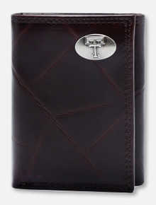 Texas Tech Red Raiders Brown Wrinkle Leather Tri-Fold Wallet with Double T
