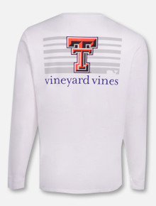 Vineyard Vines Texas Tech Red Raiders Double T on Striped Background Long Sleeve T-Shirt