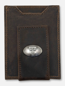 Texas Tech Red Raiders Brown Crazy Horse Leather Front Pocket Wallet
