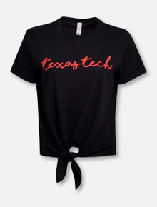 "Texas Tech Red Raiders Script ""Penmanship"" Tie Front T-Shirt"