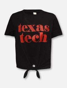 "Texas Tech Red Raiders Script ""Pristine"" Tie Front T-Shirt"