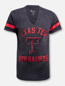 Texas Tech Red Raiders Rhinestone Double T V-neck T-shirt