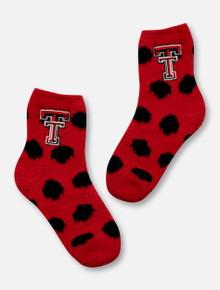 ZooZatz Texas Tech Red Raiders Texas Tech Double T on Polka Dot Fuzzy YOUTH Socks
