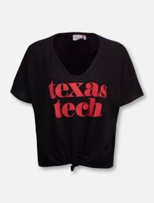 LivyLu Texas Tech Red Raiders Established Waffle Tie Front Black T-Shirt