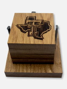 Texas Tech Red Raiders  Pride Logo Barrel Coaster Set with Stand
