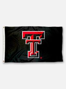 Texas Tech Large Double T Applique Black Silk Screen 3' x 5' Flag