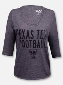 Texas Tech Red Raiders Double T Football Rhinestone 3/4 Sleeve T-Shirt