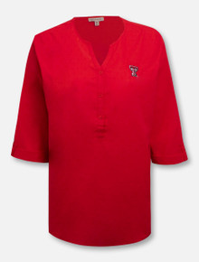 UG Apparel Texas Tech Red Raiders Polka Dot Tunic Blouse