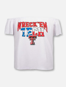 "LivyLu Texas Tech Red Raiders ""Wreck 'Em Tech"" Off the Shoulder Shirt"