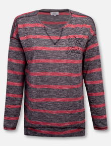 Summit Texas Tech Red Raiders Wreck 'Em Tech Striped Long Sleeve with V Notch Blouse