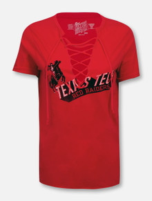 Retro Brand Texas Tech Red Raiders Rearing Rider over Texas Tech Red Raiders Block Lace Up V-Neck