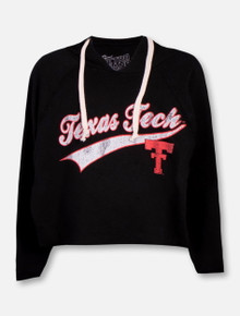 Retro Brand Texas Tech Red Raiders Throw Back Double T  Crop Top Hoodie