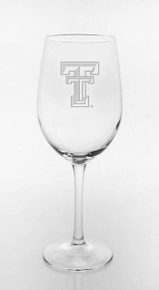 Texas Tech Red Raiders Double T Etched on White Wine Glass