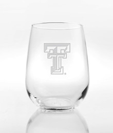 Texas Tech Red Raiders Etched Double T Steamless Wine Glass