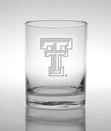 Texas Tech Red Raiders Etched Double T Double Old Fashioned Glassware