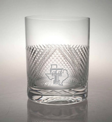 """Texas Tech Red Raiders Etched Pride Logo """"Bourbon Street"""" Double Old Fashion Glassware"""