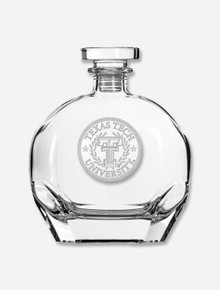 Texas Tech Red Raiders Etched Seal with Wreath Whiskey Decanter