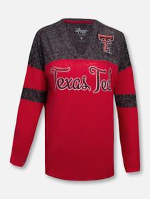 "G-III Tech Red Raiders Script Double T ""Hannah"" V-Neck Long Sleeve Blouse"
