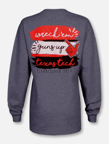 """Texas Tech Red Raiders  """"Paint Brush"""" in Team Colors Long Sleeve T-Shirt"""