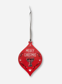 """Texas Tech Red Raiders Double T """"Merry Christmas"""" Ornament"""