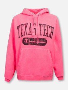 "Champion Texas Tech Red Raiders Hot Pink ""Archive Arch"" Hood Sweatshirt"