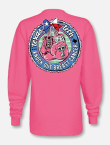 """Texas Tech Red Raiders  Black and White Double T """"Knock Out"""" Breast Cancer Long Sleeve T-Shirt"""
