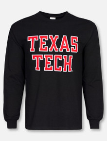 "Texas Tech Red Raiders ""Rugged Football Font"" Long Sleeve Shirt"