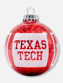 Texas Tech Red Raiders Snowflake Red and White Glitter Ornament