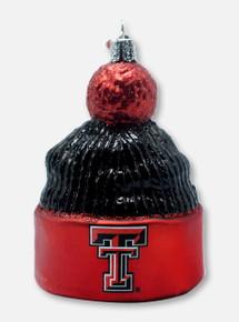 Texas Tech Red Raiders Glass Blown Double T Beanie Ornament