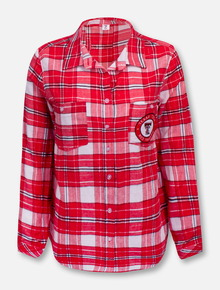 """Texas Tech Red Raiders Double T ZooZatz """"Warm Up"""" Flannel Button Down Blouse"""