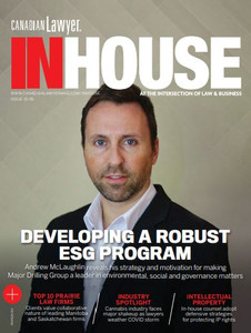 •	6 issues of Canadian Lawyer InHouse magazine delivered to your home or office  •	Digital edition of Canadian Lawyer InHouse delivered to your inbox every 2 months  •	Full access to the Canadian Lawyer InHouse digital issues and archives  •	Regular newsletter Canadian InHouse Legal Newswire delivered right to your inbox