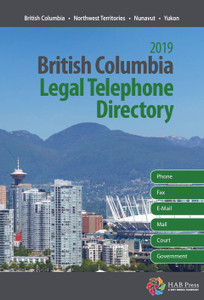 Includes e-mail addresses  Get names, mailing addresses, email addresses and phone numbers for every lawyer and law office in British Columbia, Northwest Territories, Yukon and Nunavut. This is your source of essential west coast legal contact information.  In addition to up-to-date and accurate listings for lawyers and law offices, you also have quick, easy access to:  Law/barristers' societies Courts of Appeal Federal Court of Canada Government of Canada departments and regional offices Incorporated municipalities Judicial districts and judicial officials Land registration offices The Associations of Land Surveyors The Law Foundation Provincial government departments Boards and commissions University law faculties  Professional card advertising is accepted in the British Columbia Legal Telephone Directory. Plus, you can enhance your listing by having it appear in bold type and receive a copy of the book itself at an all-inclusive price.  For more information contact: Colleen Austin, Direct Line: 416-649-9327 or E-mail: colleen.austin@habpress.ca  Multiple Copy Discounts Available