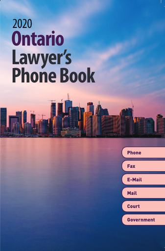 """Includes Email Addresses As the most complete directory of Ontario lawyers, law firms, judges and courts, this directory widens its scope beyond just lawyers' listings by covering every aspect of the legal community. Includes more than 26,600 lawyers more than 8,700 law firms and corporate offices fax and telephone numbers, email addresses, office locations and postal codes listings for every city in Ontario Year after year, subscribers continue to depend on the credibility, accuracy and currency of this directory. Lists: Federal and provincial judges Federal courts, including federal government departments, boards and commissions Ontario courts and services, including provincial government ministries, boards and commissions The Institute of Law Clerks of Ontario Small claims courts Miscellaneous services for lawyers Contact information that is current, up to date and easy to find. Alphabetical tabs on every page for quick reference Complete address information in every lawyer's listing Special binding that allows the directory to lay flat when opened and stay flat """"Blue pages"""" to highlight government listings"""