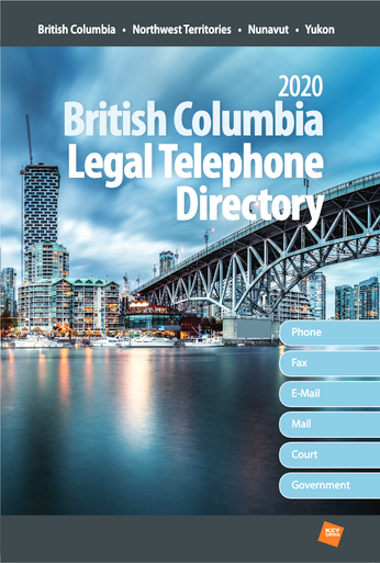 Includes e-mail addresses  Get names, mailing addresses, email addresses and phone numbers for every lawyer and law office in British Columbia, Northwest Territories, Yukon and Nunavut. This is your source of essential west coast legal contact information.  In addition to up-to-date and accurate listings for lawyers and law offices, you also have quick, easy access to:  Law/barristers' societies Courts of Appeal Federal Court of Canada Government of Canada departments and regional offices Incorporated municipalities Judicial districts and judicial officials Land registration offices The Associations of Land Surveyors The Law Foundation Provincial government departments Boards and commissions University law faculties  Professional card advertising is accepted in the British Columbia Legal Telephone Directory. Plus, you can enhance your listing by having it appear in bold type and receive a copy of the book itself at an all-inclusive price.  Multiple Copy Discounts Available