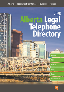 INCLUDES E-MAIL ADDRESSES With the Alberta Legal Telephone Directory you'll have access to the most up-to-date names, addresses, phone and fax numbers and e-mail addresses (when provided) for all lawyers and law offices in Alberta, the Northwest Territories, the Yukon and Nunavut. Also gain quick, easy access to Courts, Judges and Court Officials, Law Related Services/Organizations, Federal and Provincial Government Departments, Boards and Commissions.  Search by:  Alphabetical listing of Lawyers Alphabetical listing of Law Firms  Alphabetical listing of Judges Geographical listing of Lawyers  Geographical listing of Law Firms