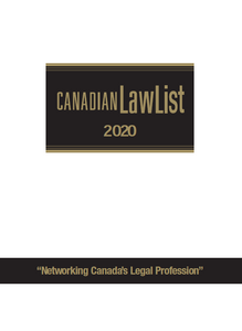 Canadian Law List is the number one source of contact information for the legal profession in Canada. INCLUDES E-MAIL ADDRESSES! Canadian Law List is your number one source of contact information for the legal profession in Canada. Find: Contact information for more than 80,000 barristers and solicitors Contact information for the Supreme Court of Canada, the Federal Court of Canada, Federal Cabinet Ministers, departments, boards, commissions and Crown corporations Contact information for the Courts of Appeal, Supreme Courts, County and District Courts, Provincial Courts, law societies, law schools, Legal Aid, and other law-related offices of importance Areas of Practice and Enhanced Listing Index lists areas of practice by province, city and page location in their provincial listings lists firms and lawyers that have expanded practice information in their provincial listings