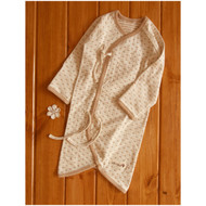 Button Baby Kimono Gown (Heart Pattern Jacquard )