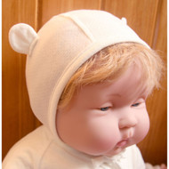 Baby Ear Cap (Jacquard Y Ivory )